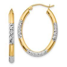 3 mm Diamond Cut Oval Hoop Earrings in Genuine 14k Two-Tone Gold - 21 to 30mm