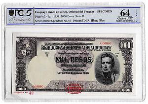 1939 Uruguay Mill Pesos 1000 Pesos Banknote Specimen TDLR P41a Choice Unc 64