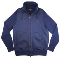 BANANA REPUBLIC Rare Mens Size L Foam Cotton Full Zip Sweater Jacket Navy EUC
