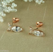 E1- 18K Rose Gold Plated Fish Stud Earrings with Clear Cubic Zirconia Crystal