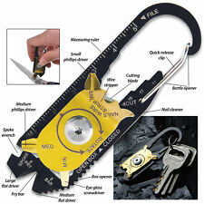 SHTF 20-In-1 Multi-Tool EDC Carabiner Outdoor Survival Camping Knife Screwdriver