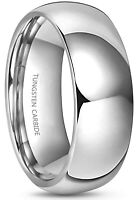 8MM Plain Dome Polished Tungsten Ring for Men | Women Wedding Engagement Band