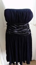 ladies black party dress with belt m/l made in UK mixed fibres  bnwt