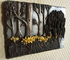Cold Cast Bronze & Aluminium Daffodils Flower Signed Sculpture Plaque Relief