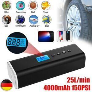 USB Wireless Akku Luftpumpe 12V 4000mAh Auto Reifen Druckluft Fahrrad Kompressor