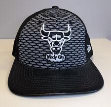 Chicago Bulls Gray Black Snapback New Era Hat Hardwood Classics Leather Bill