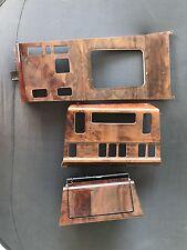 MERCEDES W124 BURL WOOD CENTER CONSOLE SHIFT PANEL, ASHTRAY, HVAC PANEL SET