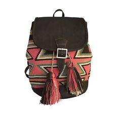 Wayuu Colombian Mochila backpack leather handmade ethnic boho summer bag