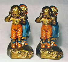 Guess Who Kids/Antique Bronze Clad Bookends by Galvano Bronze ~1925/Nice Set!