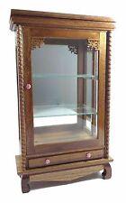 Cabinet Small Storage Wood Furniture Bathroom Curio Glass Teak Shelf Carved Gift