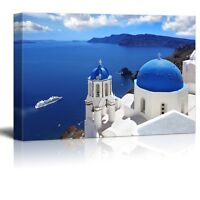 Canvas -Landscape Amazing Santorini with Churches and Sea View in Greece-16 x 24