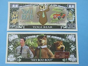 YOGI BEAR: Cartoon Character in TV, Film, Books ~ $1,000,000 One Million Dollars