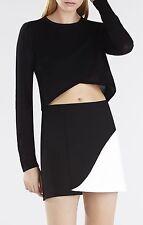 NWT BCBG MaxAzria Kiri Colorblock Petal mini Skirt, Black & Off White XXS  $158