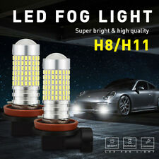 PAIR H8 H11 White LED Fog DRL Lights Bulb 2800LM High Power 144-SMD HD Projector