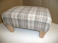 "Footstool in a latte tartan fabric size 24"" x 18"" with wooden legs"