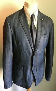 AT.P.CO Sakko blau Gr. 52 Jeansstoff leicht Baumwolle Denim ungefüttert