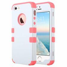 ULAK Cover per iPhone 5s, iPhone SE / 5 Custodia Ibrida a Integrale, Rosa+Bianco