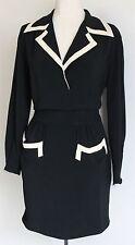 Moschino couture vintage noir classique poche robe crème bordure taille uk 12