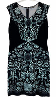 Jacqui E Womens Black/Green Floral Sleeveless A-Line Dress Size M