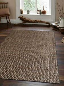 Farmhouse Hand Woven Jute 5x8 Carpet Indian Oriental Solid Brown 6x9 Area Rug