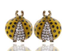 Fun Big Rounded LJH Crystal Rhinestone Painted Ladybug Insect Stud Earring ERA