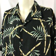 Tommy Bahama Hawaiian Shirt Size Large 100% Silk Bamboo Camp Aloha EUC Black