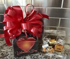 Happy Valentine's Day Gift Basket-Box Chocolates 1/2 LB Hershey Bars Red Bow