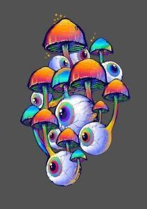 "3"" Eyes Shrooms 🍄 Psychedelic Colorful Weird Trippy Hippie Smoke Crazy Sticker"