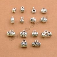 10/30 Pcs Tibetan Silver Tube Charm Connector Bail Jewelry Findings 3/4/5MM Hole