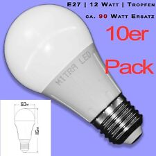 DEL e27 Warmweiss 12 W 1075 LM 10er Pack Ampoule environ 90 W de rechange Goutte