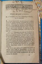 LOI RELATIVE AUX POIDS ET MESURES. 18 GERMINAL AN III EDITION ORIGINALE METRE ET