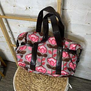 Grey & Pink Floral Nappy Bag Baby Handbag