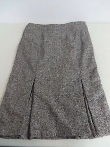 BODY by Victoria  Tweed Wool blend Midi Fluted Bow Pencil Gray Zip Skirt  4