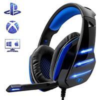 Stereo Pro Gaming Kopfhörer Headset mit Mikrofon LED für PS4 Nex Xbox One PC
