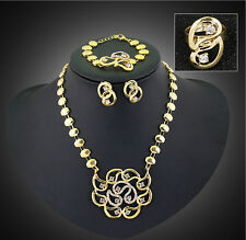 Women Gold Plated Crystal Flower Necklace Earrings Wedding African Jewelry Sets