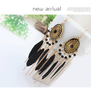 Elegant Women Feather Tassel Long Dangle Hook Bohemian Boho Earrings Jewelry