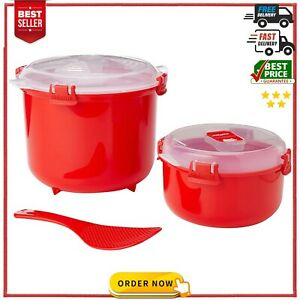 Sistema Microwave Rice Cooker Steamer and Round Microwave Food Container NEW AU