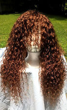 "18"" #33 Customized 6A Bright Auburn Brazilain Curly 150% Density Lace Front Wig"