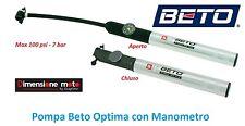 """0740 - Pompa Gonfiatore """"BETO"""" Optima con Manometro per bici 26-28 Corsa Vintage"""
