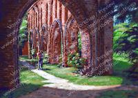 Kunst Poster Druck A4 matt Acryl Gemälde Liebe Ruinen Hude Backstein Mauerwerk