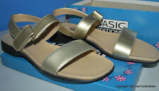 Women's Basic Editions Gold 2-Band Sandal Size 7 NEW in Box Never Worn!
