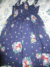 euc Ralph Lauren navy floral baby doll sun dress girl 12 free ship USA
