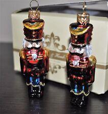 "Glass X-mas Ornament NUTCRACKER Set/2 IMPULS Poland Gem Soldiers 3""H"