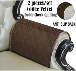 """HAOMAIJIA Sofa Armrest Cover Nonslip Coffee Brown Set of 2 NEW 20"""" x 24"""""""