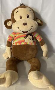 "Kellytoy Monkey Jumbo brown plush stripped shirt  36"""