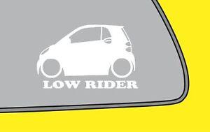 2x LOW RIDEered Smart Fortwo w451 2nd gen fukn low sticker smart car decal LR372