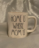 "BRAND NEW Rae Dunn Ivory ""HOME IS WHERE MOM IS"" Coffee Mug"