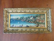 Antigua pintura sobre madera borde del mar con hijo marco de dorado y tallado