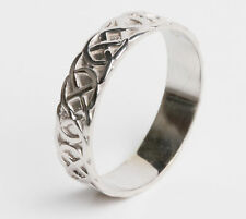 Ladies 14k White Gold Irish Celtic Wedding Band Ring all sizes