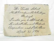 North Carolina State College Textile School Raleigh Invitation April 1936 NCSU